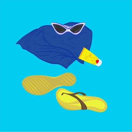 sunblock: towel sunglasses flip-flops sunblock on a bright blue background Illustration