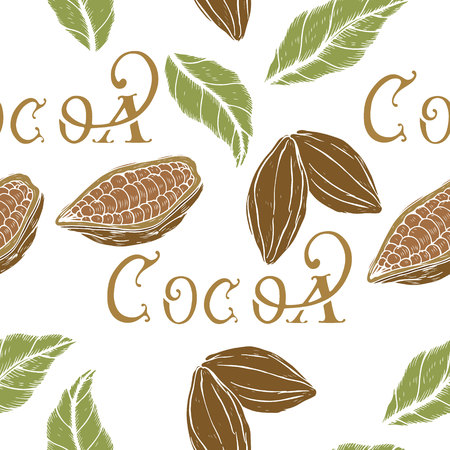 botanical seamless pattern, pattern with a retro style cocoa, cocoa beans and leaves with sketch elements, vector illustration Illustration