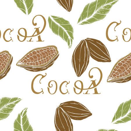 Botanisches nahtloses Muster, Muster mit Kakao im Retro-Stil, Kakaobohnen und Blätter mit Skizzenelementen, Vektorillustration