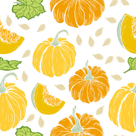 seamless pattern with pumpkins, hand-drawn in retro style, sketch, a pattern to Thanksgiving, white background, vector illustration Illustration