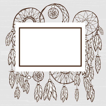 background dream catcher hand-drawn in retro style, feathers, beads, vector image