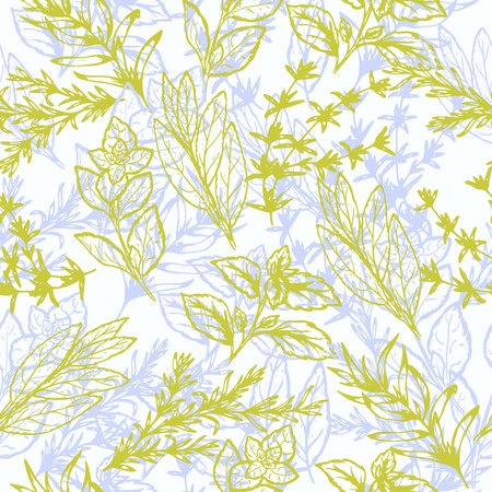 seamless pattern of spicy grass in retro style, vector illustration Vettoriali