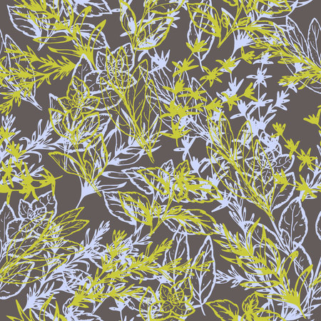 seamless pattern of spicy grass in retro style, vector illustration