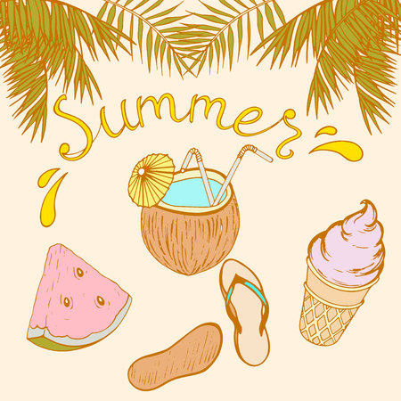 postcard with an inscription sheet, palm leaves, coconut cocktail, ice cream in a waffle cup, Vietnamese, slice of watermelon, vector illustration hand-drawn Illustration