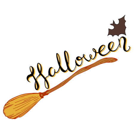 logo halloween, letitering by hand, witches bat, bat, design for All Saints Day