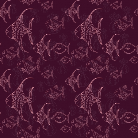 claret: Contour of fishes on claret background