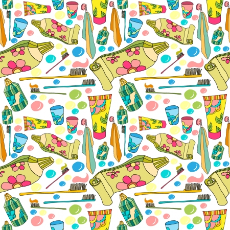pattern with tooth paste and brushes Illustration