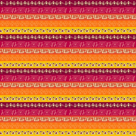 gamma: Tribal geometric striped pattern  claret, orange  color gamma Illustration