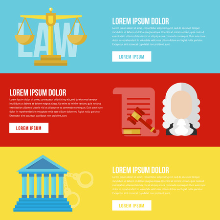 honest: Legal law concept banners. Legal vector. Law flat banners. Legal flat lawyer. Honest lawyer. Collection of law banners for web with buttons. Trial and gavel elements