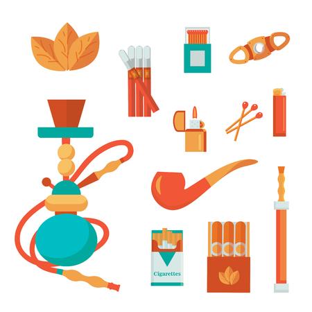 Smoke vector icon set: smoke illustration. Smoke tobacco, smoking pipe, hookah. Isolated flat set of addiction, bad habits