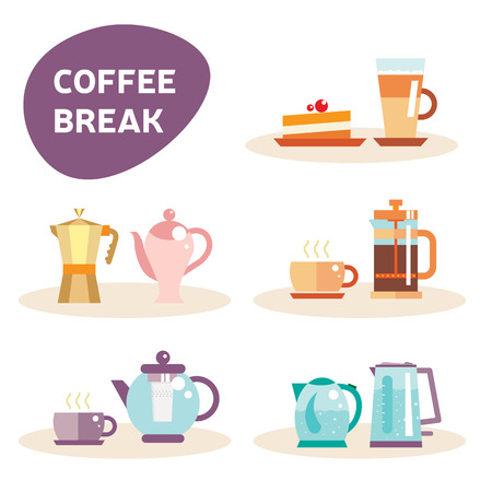 electric tea kettle: Tea pot and coffee vector sticker set illustration and icon. Tea cup and latte, cake. Flat elements of drink design. Electric kettle. Tea and coffee stickers. Flat coffee break elements