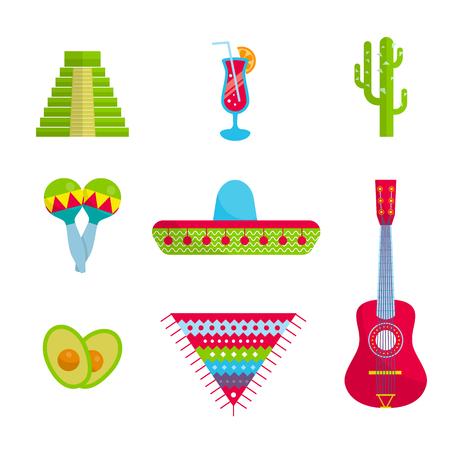 inca: Vector Bright Mexican flat set, icon, elements for travel site, banner, web. Sombrero hat, guitar, avocado, Maraca, cactus, inca pyramid, tequila