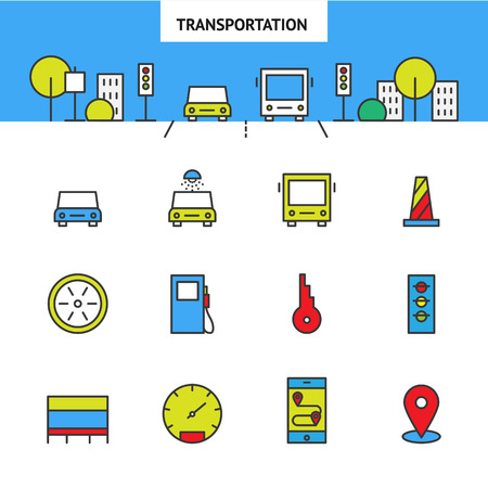 geolocation: City transport vector set, automotive icons, car icons, flat city location icon Illustration