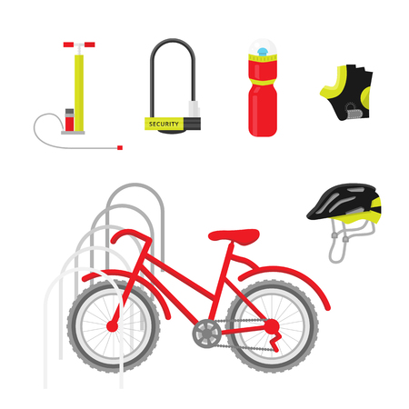 personal protective equipment: Bicycle equipment icon vector set. Red bike and uniform cyclist illustration. Bike equipment for sport