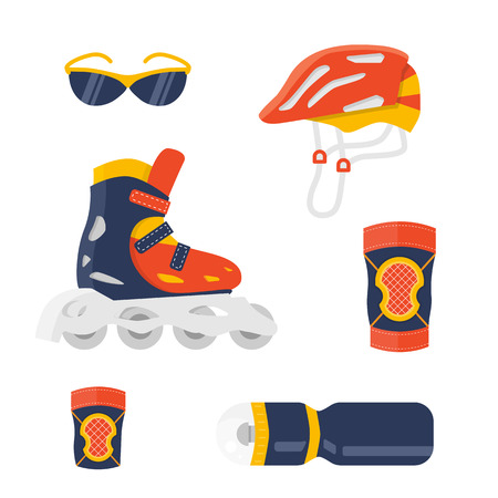 elbow pads: Extreme protection wear. Roller skate vector. Sport equipment for summer activity. Flat shoe and helmet, knee, wrist, elbow pads. Sport sun glasses and sport bottle. Protection equipment isolated set