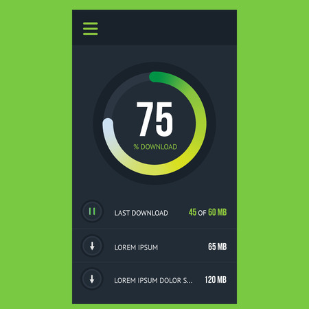 Modern vector green flat design concept mobile application for downloading files, cloud storage, display screen interface