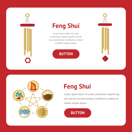 five elements: Five elements, symbol of feng shui in flat design: fire, water, wood, earth, metal.  Concept Web design banner, layout, cards