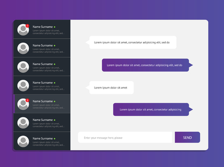 chat window: Concept chat messages, web interface, application. Speech bubbles. Sms messages. Flat simple, modern design, layout Illustration