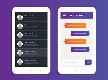 messages: Concept mobile chat messages, web interface, application. Speech bubbles. Sms messages. Flat simple modern design, layout