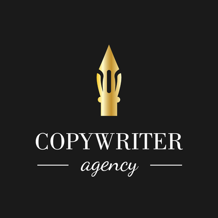 Calligraphy pen logo for copywriting agency, school, education or other business. Vector feather symbol