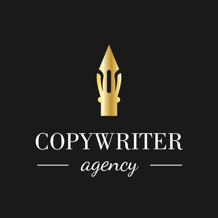 Kalligrafiepen logo voor copywriting bureau, school, onderwijs of andere zaken. Vector feather symbool