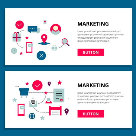 viral marketing: One page, banner web design template with thin line, outline icons of viral marketing company , digital marketing service, content marketing, native ads, marketing SMM. Flat design site concept, website elements layout, prototype. Illustration