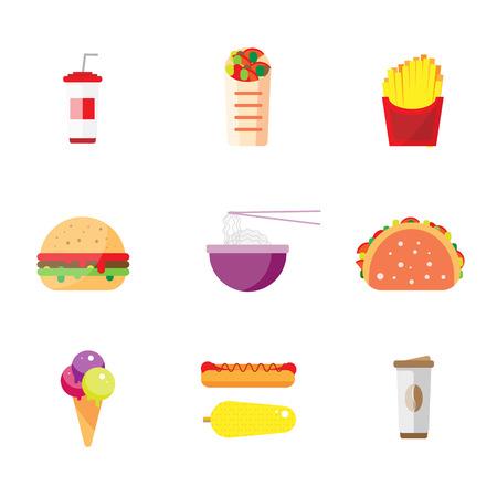 perro comiendo: Alimento de la calle de la ciudad diseño plano. aislado conjunto icono de comida rápida, hamburguesas ilustración vectorial de aperitivos de maíz. fideos chinos de arroz, tacos, burritos mexicanos indígenas. Los iconos de menú, sitio, bandera, folleto
