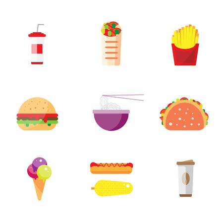 hot dog: Street city food flat design. Fast food isolated icon set, burger snack corn vector illustration. Chinese rice noodles, Indian tacos, Mexican burritos. The icons for the menu, site, banner, booklet Illustration