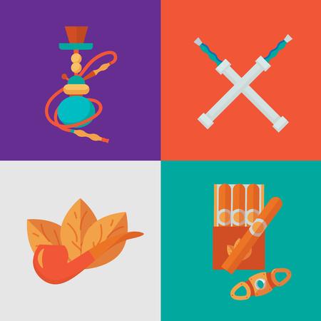 habits: Smoke vector icon compositions: smoke illustration. Smoke tobacco, smoking pipe, hookah. Isolated flat set of addiction, bad habits Illustration