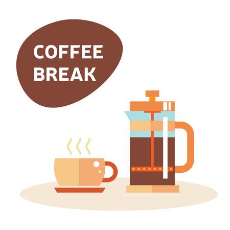tarde de cafe: Pausa para el caf�. La hora del t� la ilustraci�n: Icono de t�, caf�, tetera. p�rpura de fiesta del t�, ma�ana, hora de la tarde. Ingl�s t� y caf� y un pastel. Aislado s�mbolo tetera y la taza en blanco. Vectores