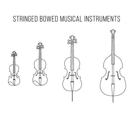 Outline vector stringed bowed musical instruments: Bass, cello, viola, violin Illustration