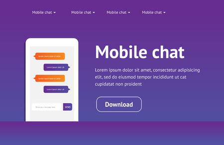 chat window: Vector concept website, landing page with mobile chat messages, web interface, application. Speech bubbles. Sms messages. Flat simple modern design, layout.