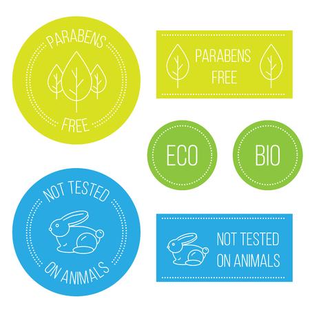 la línea de mínimos insignias modernas inconformista: No probado en animales, parabenos, a los parabenos. emblema del círculo por los cosméticos no probado en animales Ilustración de vector
