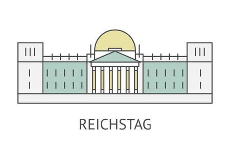 houses of parliament: Flat retro illustration Reichstag in Berlin, Germany. Famous Berlin symbol line icon