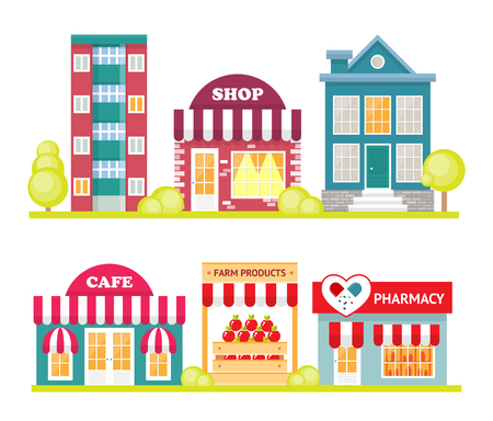 Store front window concept. City shop icon. Street small business Vettoriali