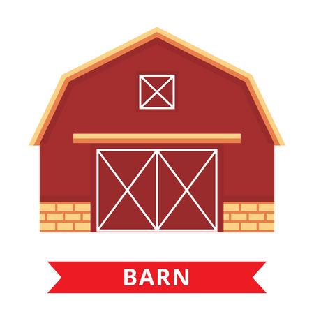 old barn: Flat barn icon. Farm barn. Wood house illustration Illustration