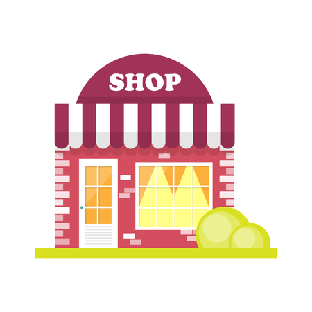 small business: Store front window concept. City shop icon. Street small business Illustration