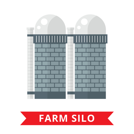 oil crops: Farm grain silo. Silo icon. Flat agriculture sign