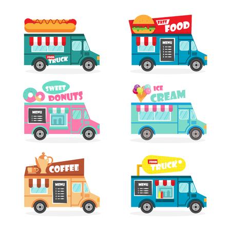Food truck flat set. Fast street food van delivery