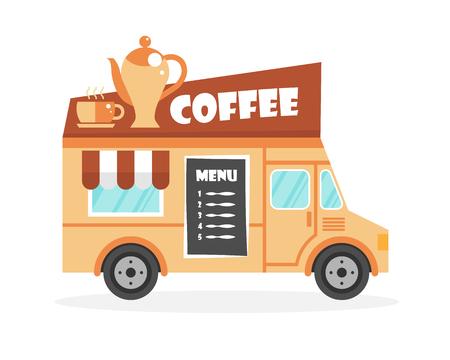 brawn: Street food truck illustration. Coffee drink van delivery. Flat icon