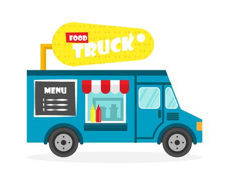 Ilustración de la calle camión de alimentos. Maíz furgoneta de reparto. icono plana
