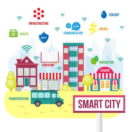 Smart City-Konzept. Zukünftige Stadt-Symbole, intelligente Stadt