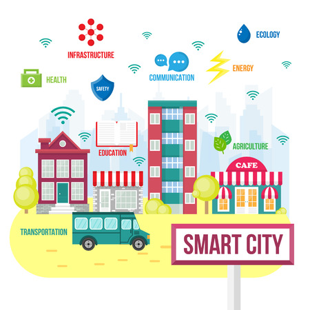 Smart city concept.  Future city icons,  intelligent city Illustration