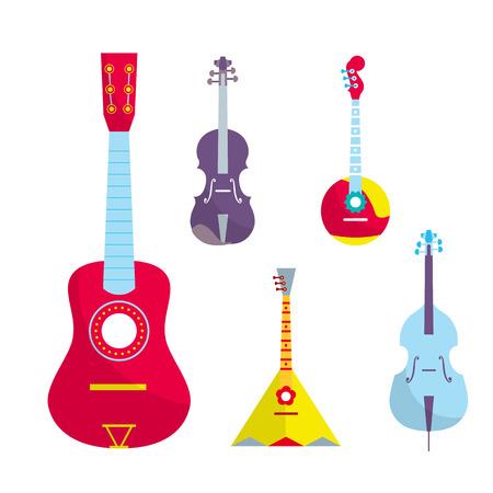 stringed: Outline stringed bowed musical instruments. Bright color