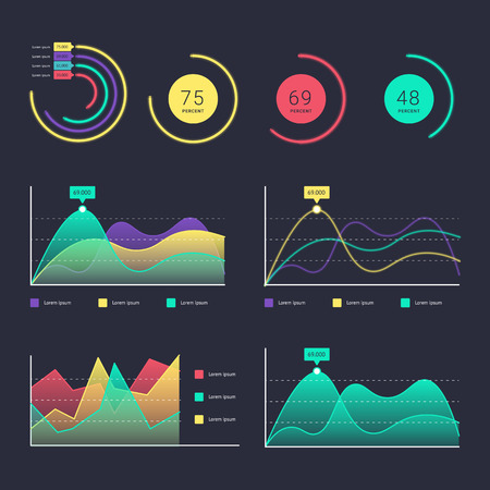 dashboard: Flat dashboard, set of ui web infographic elements