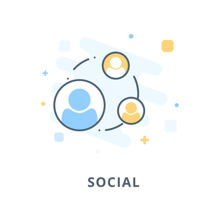 Creative web design, social flat icon. Design illustration and outline icons. Design elements for apps, web or ads