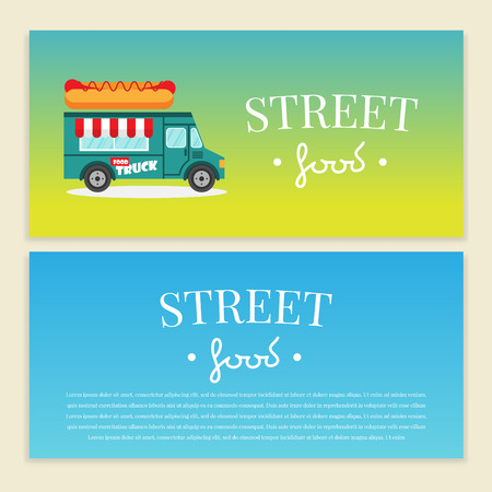 屋台トラックのベクター イラストです。ホットドッグ バン配信。フラット バナー、チラシ。価格と本文のパンフレット デザイン テンプレート ベ