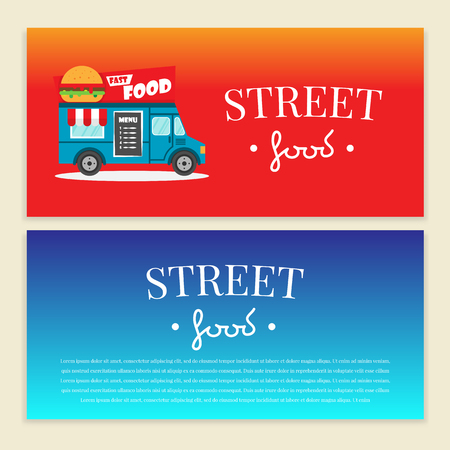 屋台トラックのベクター イラストです。ハンバーガー バン配信。フラット バナー、チラシ。価格と本文のパンフレット デザイン テンプレート ベ