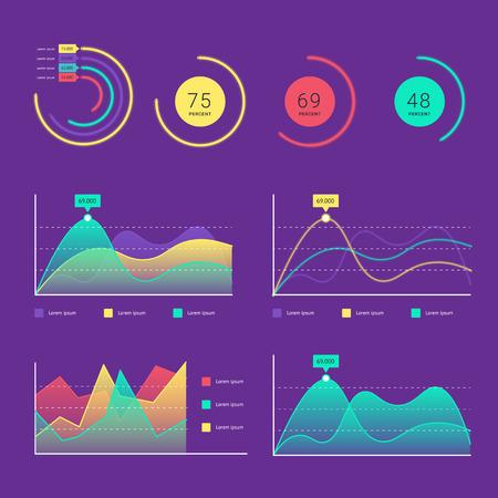 フラット ダッシュ ボード、web インフォ グラフィックの ui 要素のセット