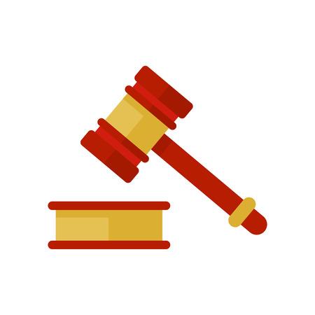 ハンマー法アイコン。裁判官のハンマー。金と木の小槌アイコン。フラット ハンマー ベクトルが分離されました。裁きをハンマーします。裁判官の  イラスト・ベクター素材